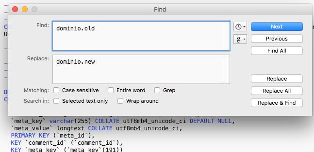 qua per cambiare il dominio di wordpress da quello vecchio a quello nuovo usando TextWrangler